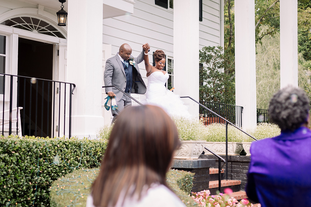 Wedding exit off the steps
