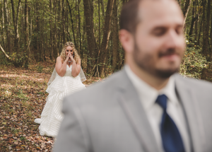 Bride sneaking up for first look
