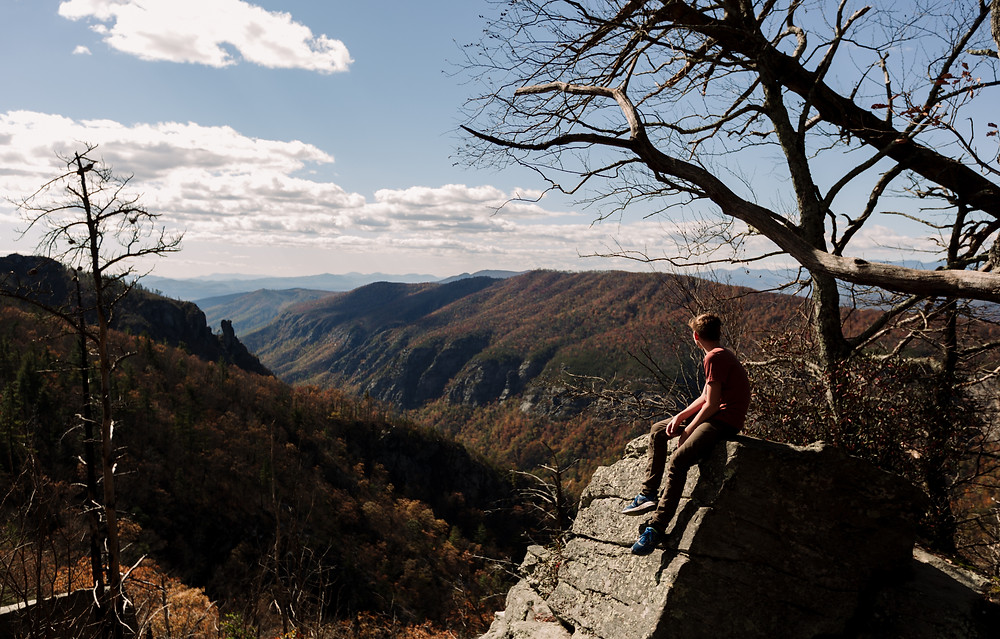 John taking in the view at Linville Gorge