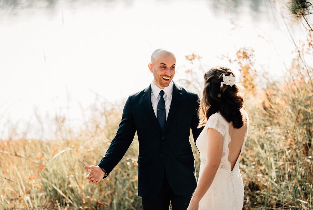 First look groom's reaction