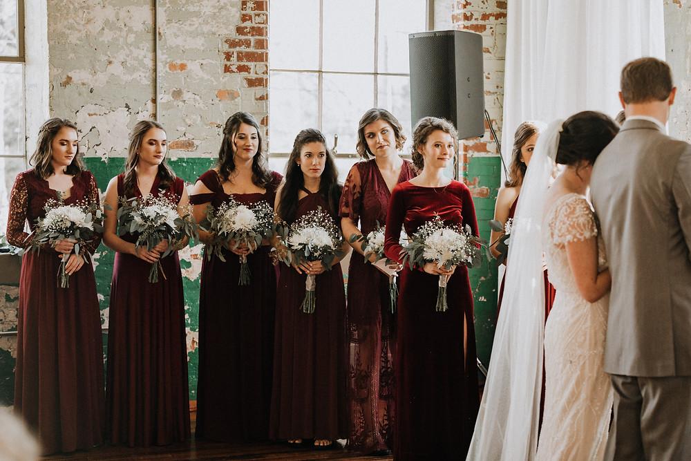 Bridemaids watching ceremony