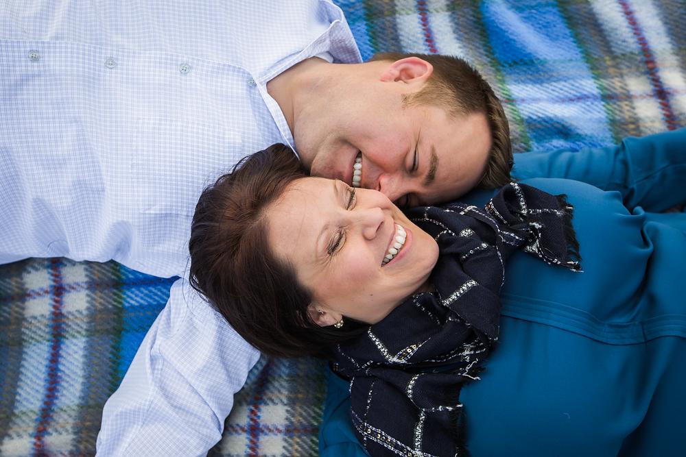 Piedmont Park picnic blanket engagement session