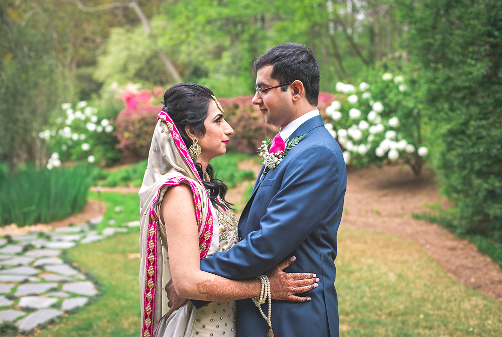Bride and groom formal portrait at Little Gardens Atlanta