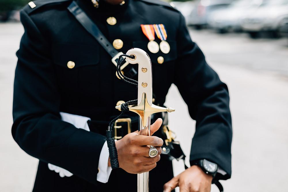 Marine wedding sword details