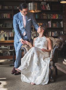 Formal wedding portraits in chair
