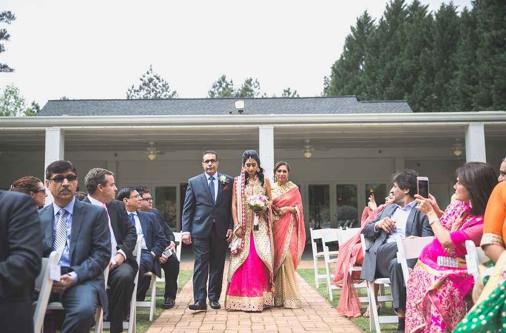 Walking down the aisle at Little Gardens