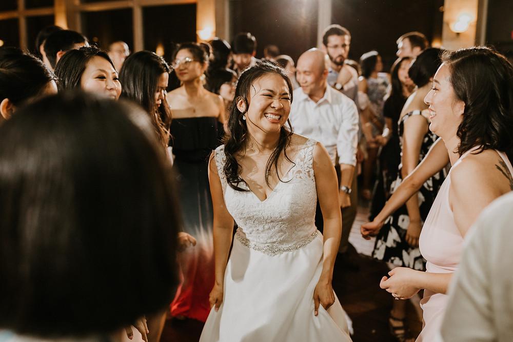 bride dancing candid
