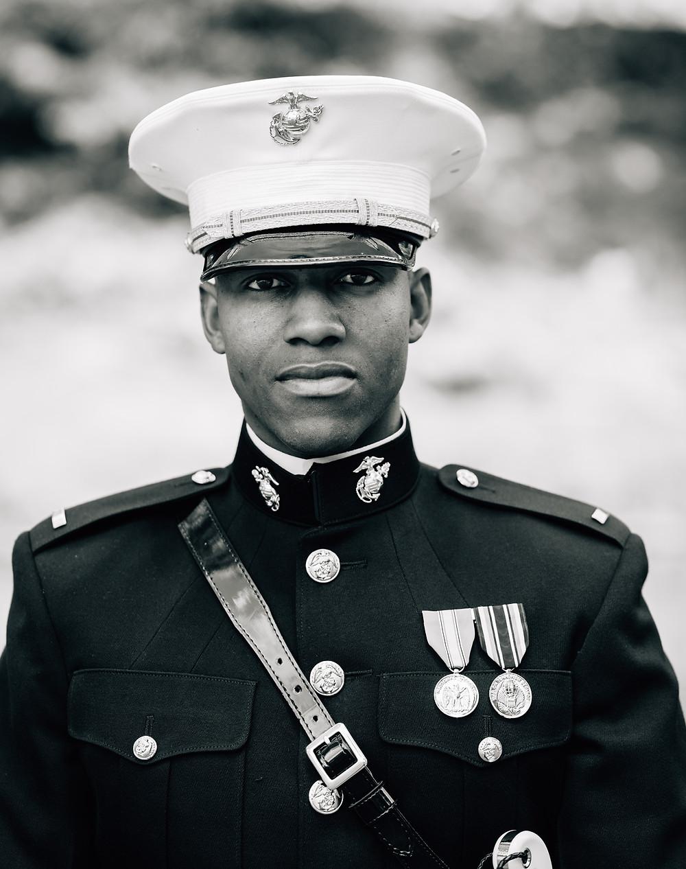 Marine groom portrait close up