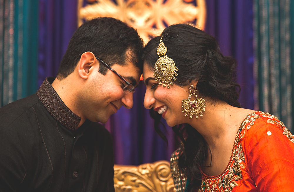 Bride and groom portraits on Mehndi night