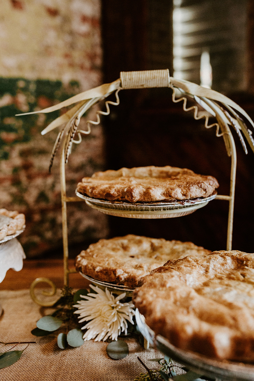 Wedding dessert table pies