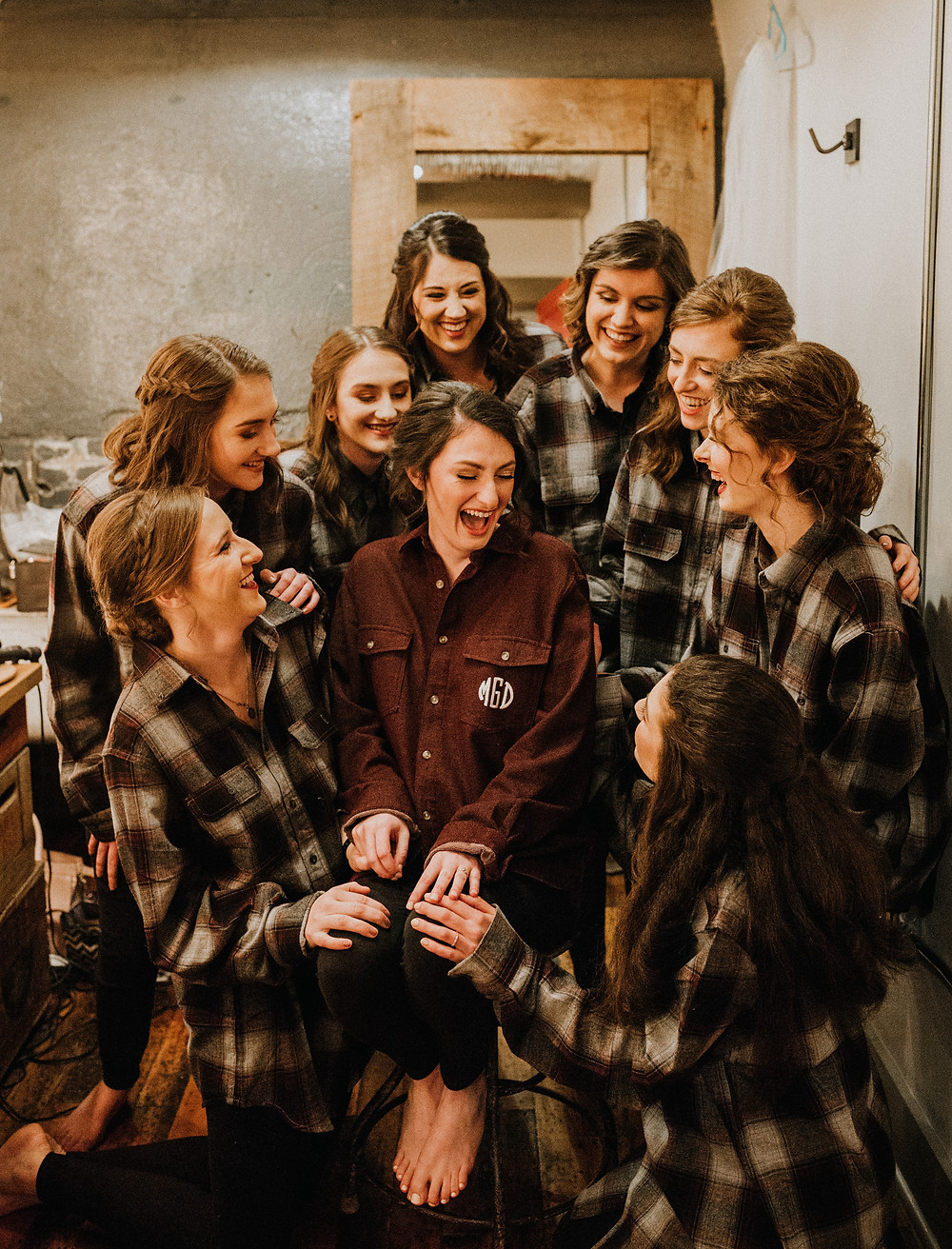 Bridesmaids in matching flannel