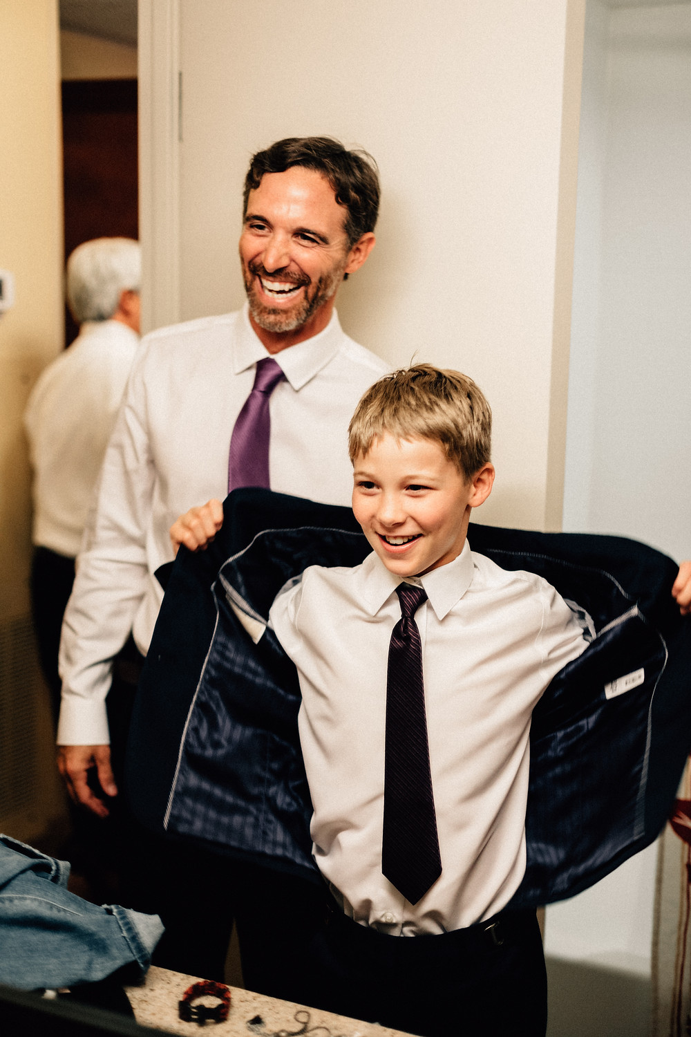 Dad and son on wedding day