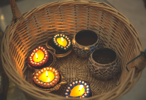 Candles in a basket