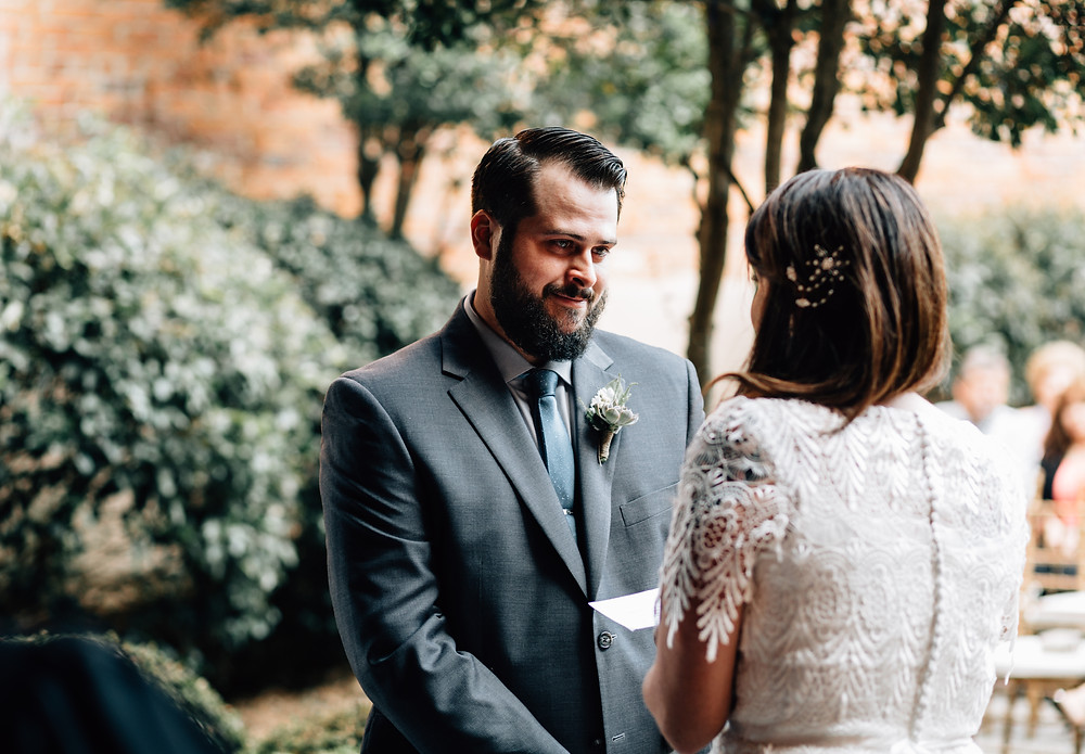 Groom listens to vows