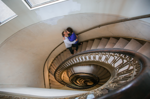 Staircase engagement pictures