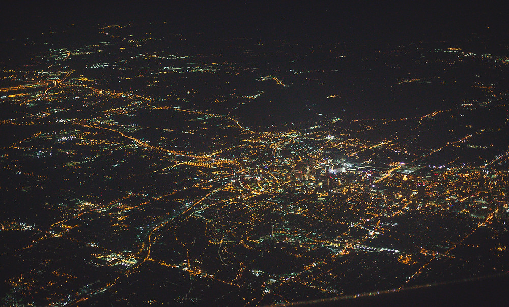 Nighttime cityscape from plane