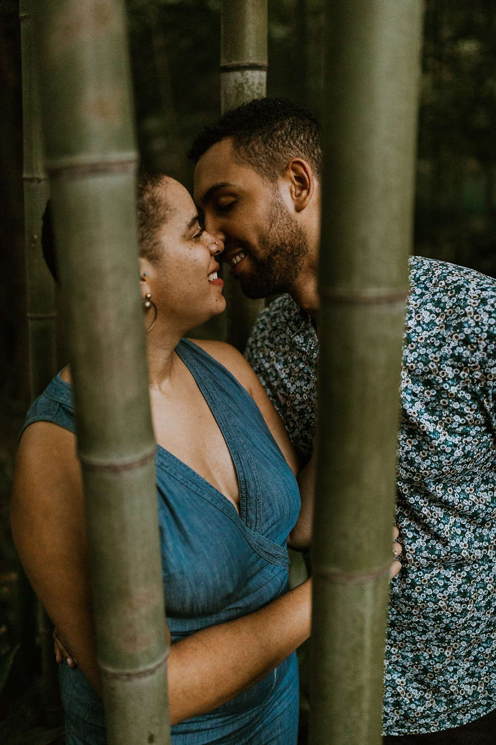 engagement session in bamboo forest