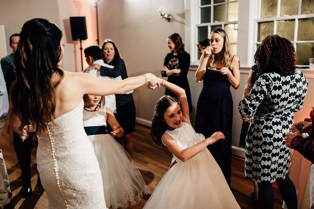 Bride and daughter dance