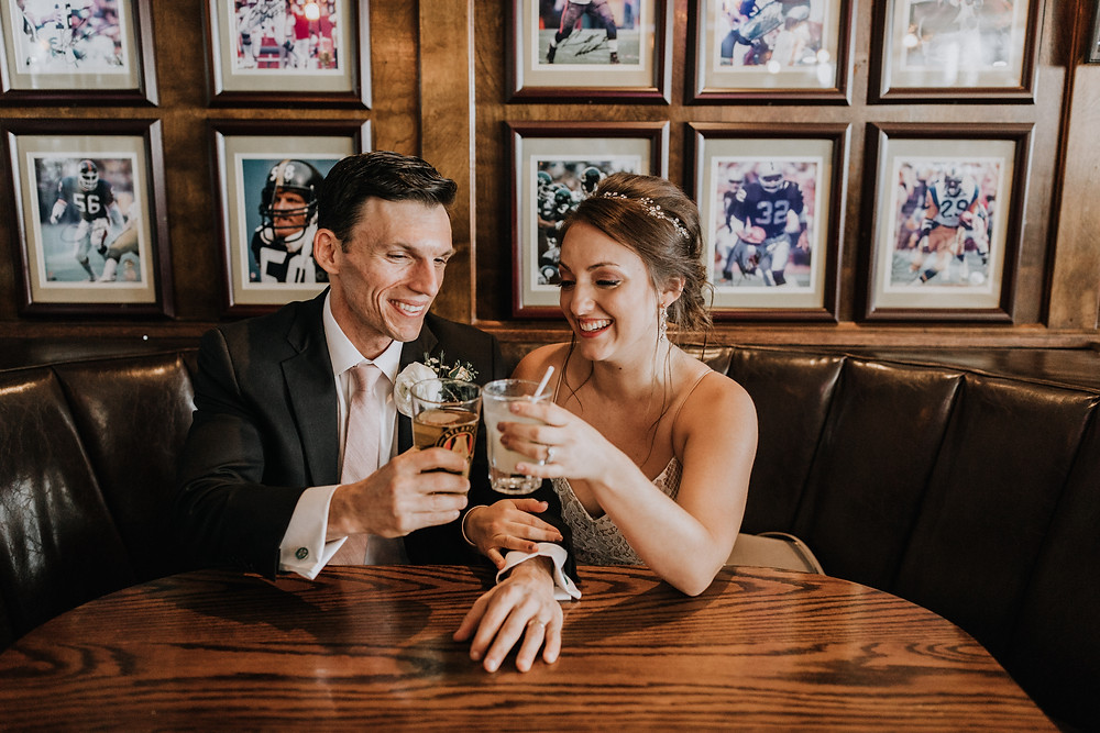 Bride and Groom At Bucket Shop Cafe