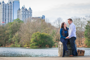 Engagement session by the water at Piedmont Park
