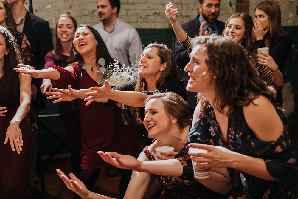 College friends at wedding
