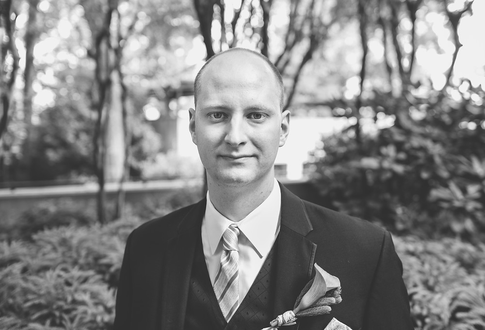 Groom portrait in B&W