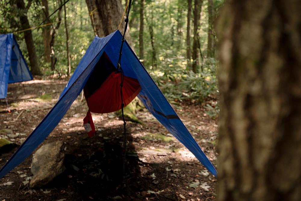 Hammock setup Linville Gorge