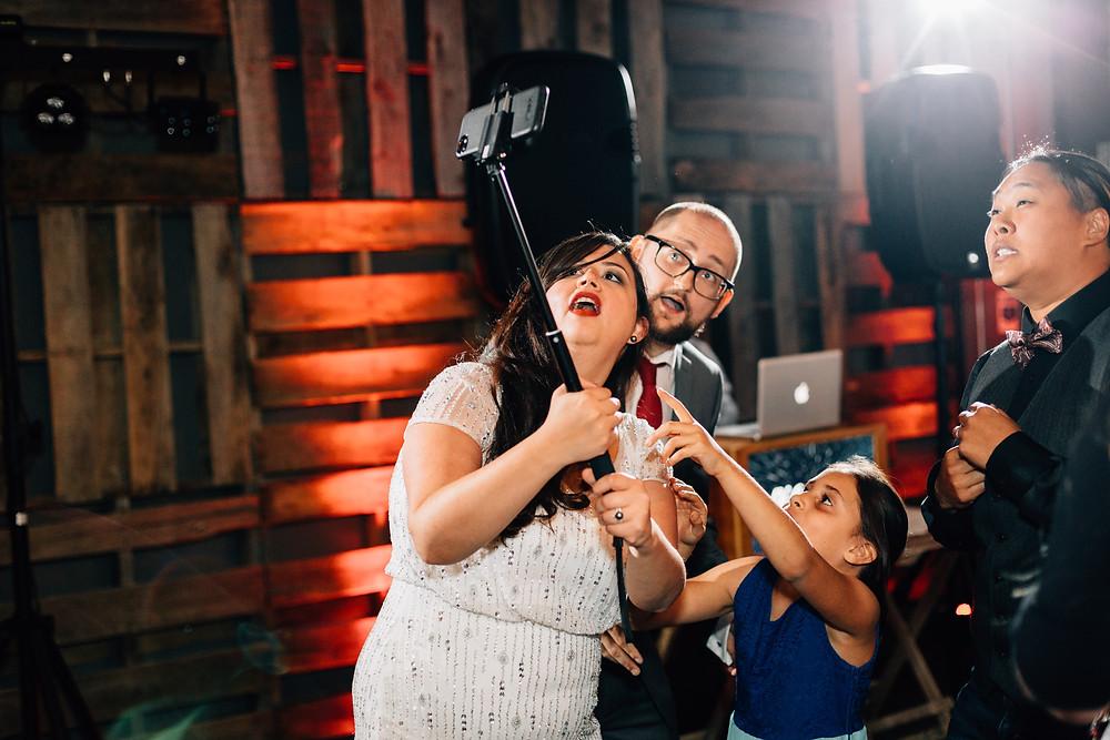 Selfie stick wedding reception