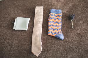 Funky socks on wedding day