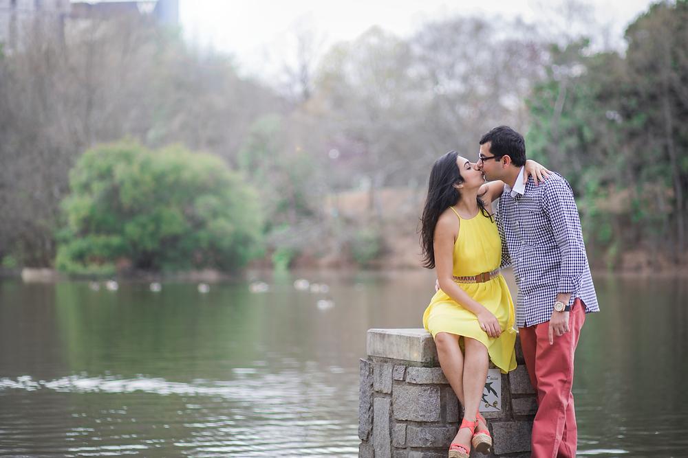 Kissing at Piedmont Park dock