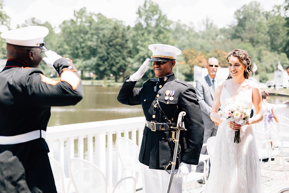 Saluting gunnery sergeant