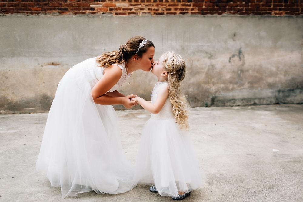 Bridesmaids kiss