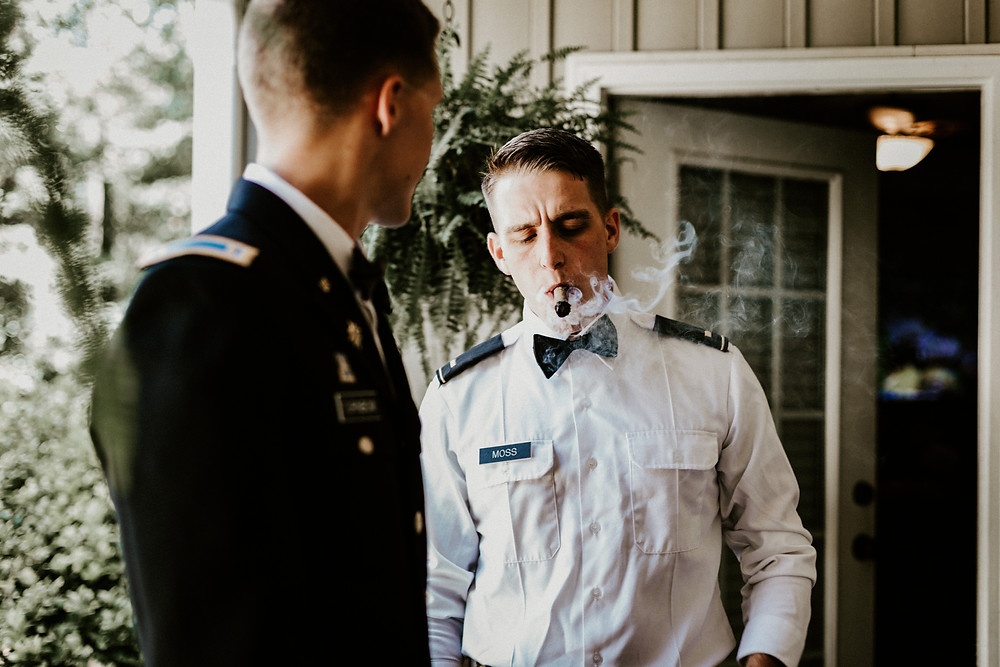Cigar before wedding
