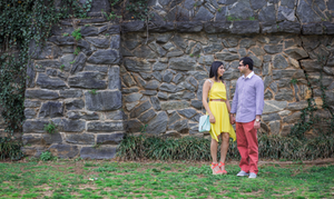 Stone wall background at Piedmont Park engagement session