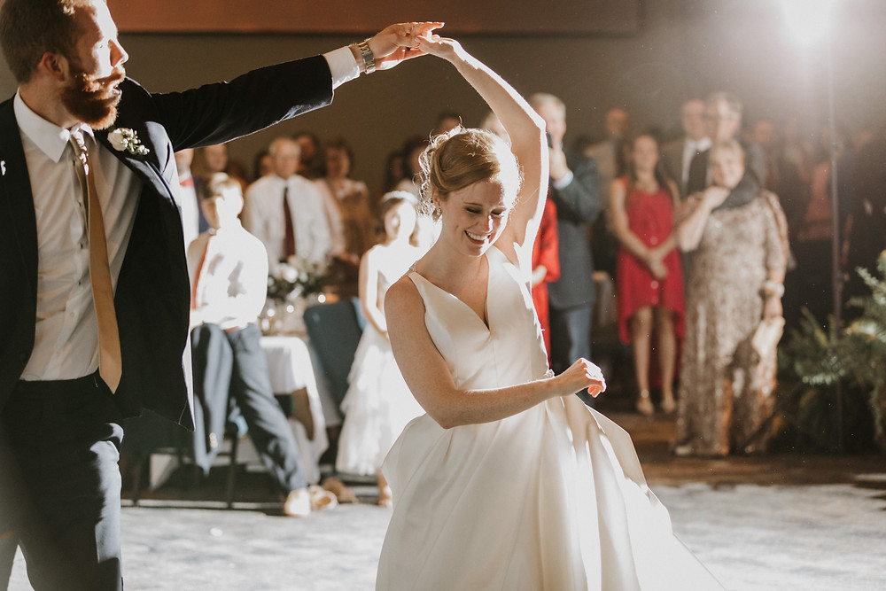 bride dances with groom