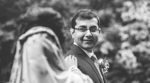 Groom seeing his bride during first look