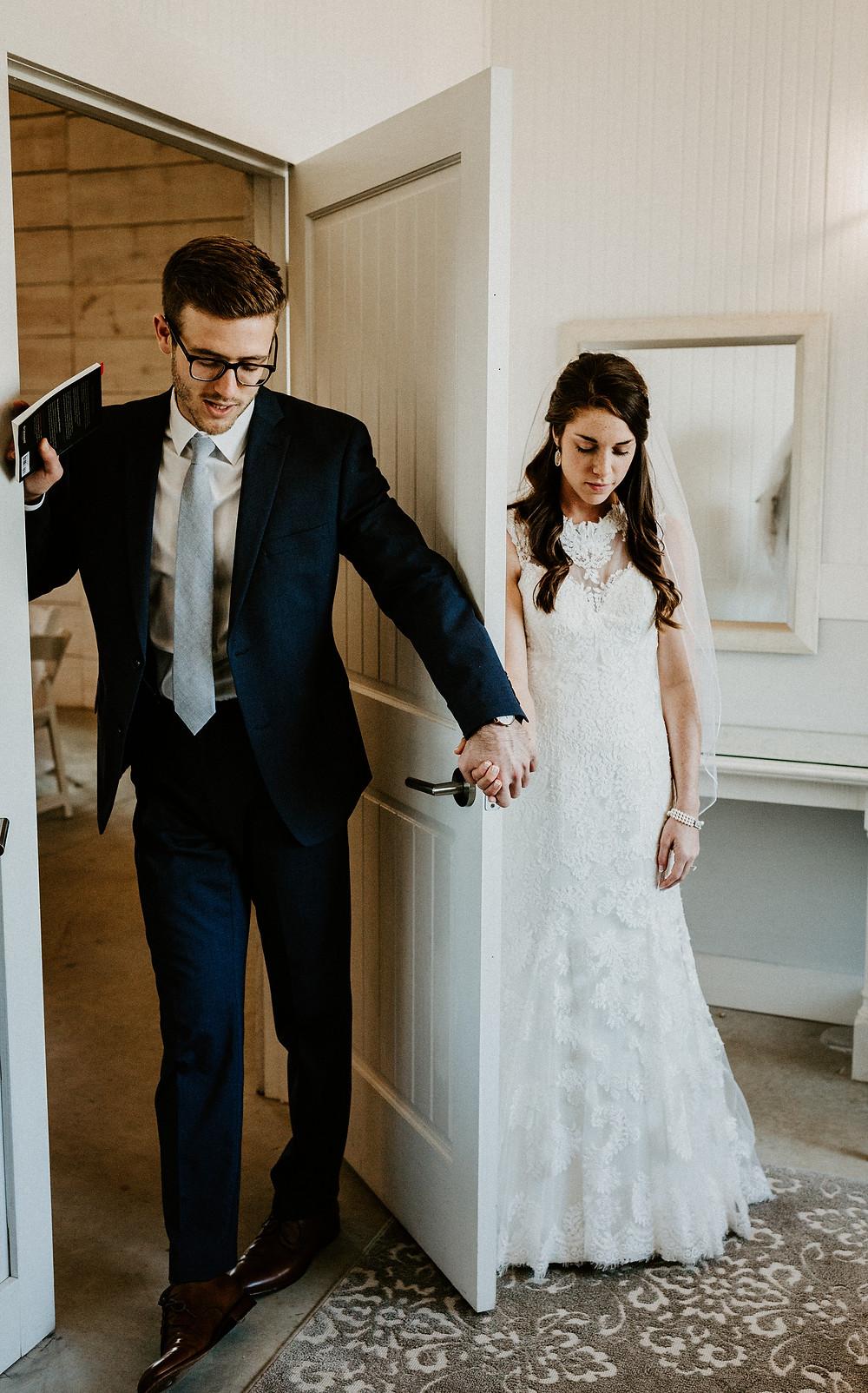 Around the door wedding picture