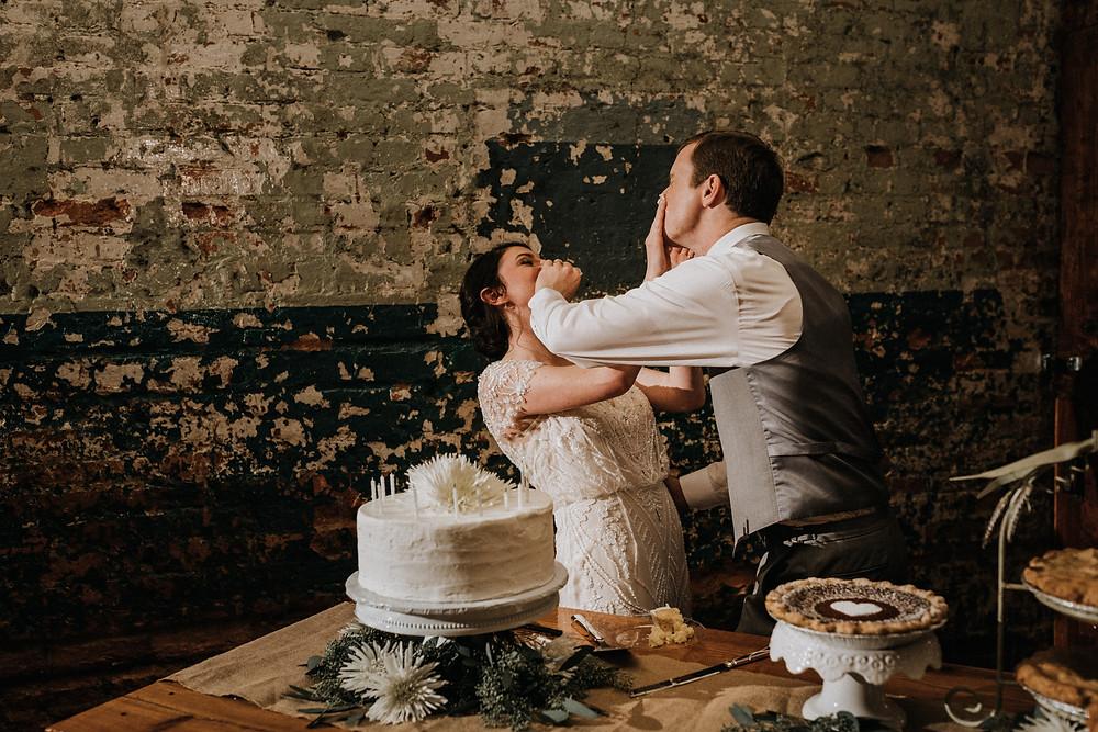 Wedding cake in face