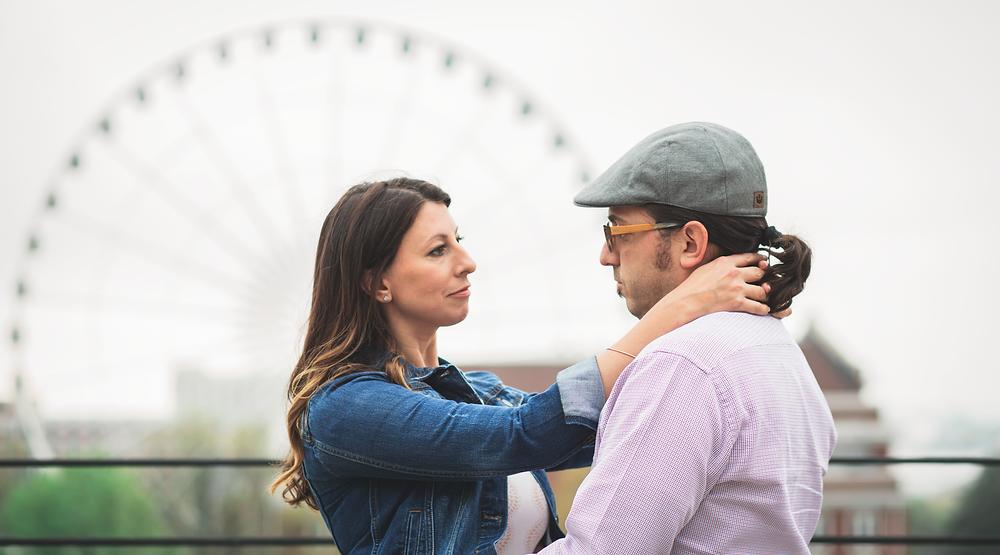 Engagement session ferris wheel background