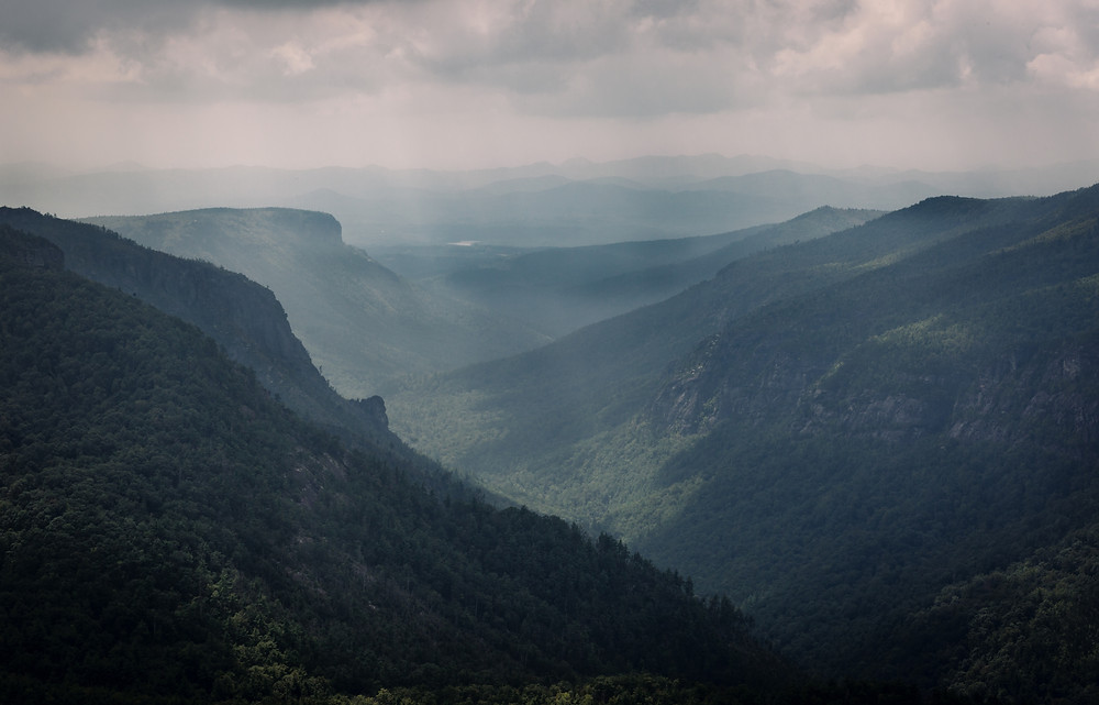 Sun beams at Linville Gorge