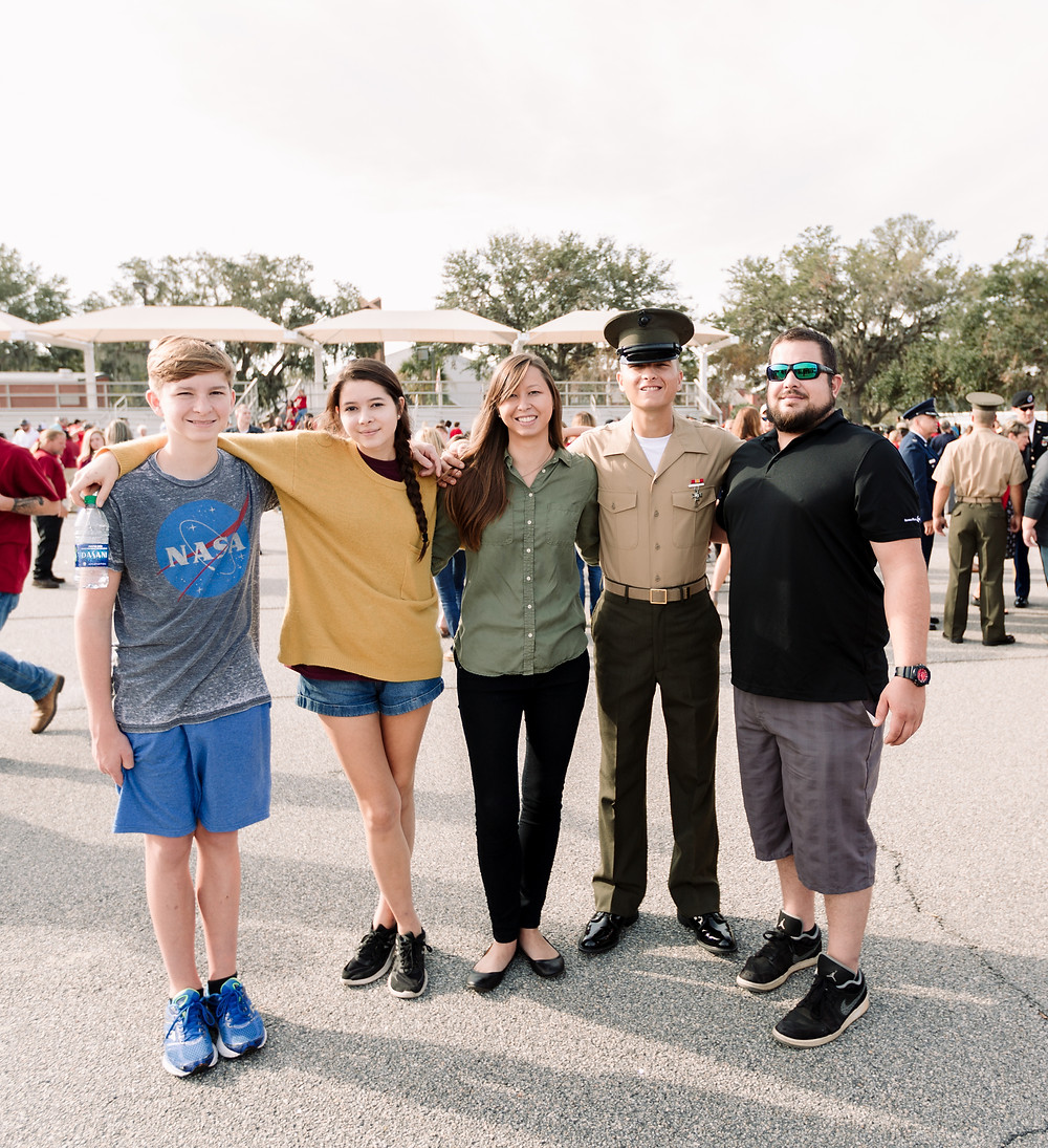 Graduation day family picture at Parris Island