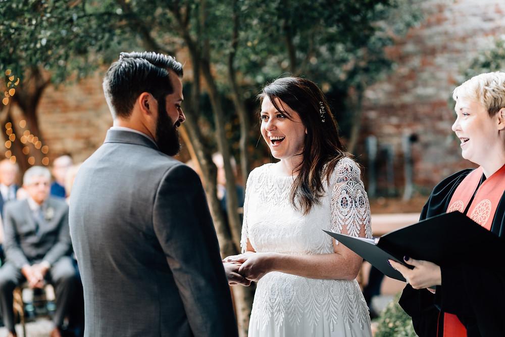 Bride giggles