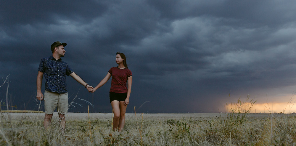 Stormy background portrait