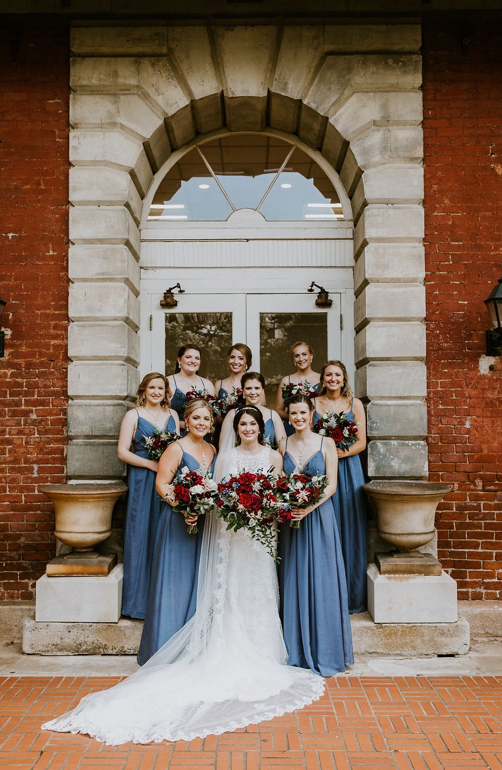 bridesmaids on stairs