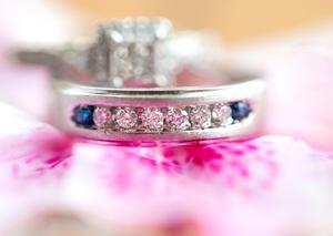 Macro wedding ring on flower pedal