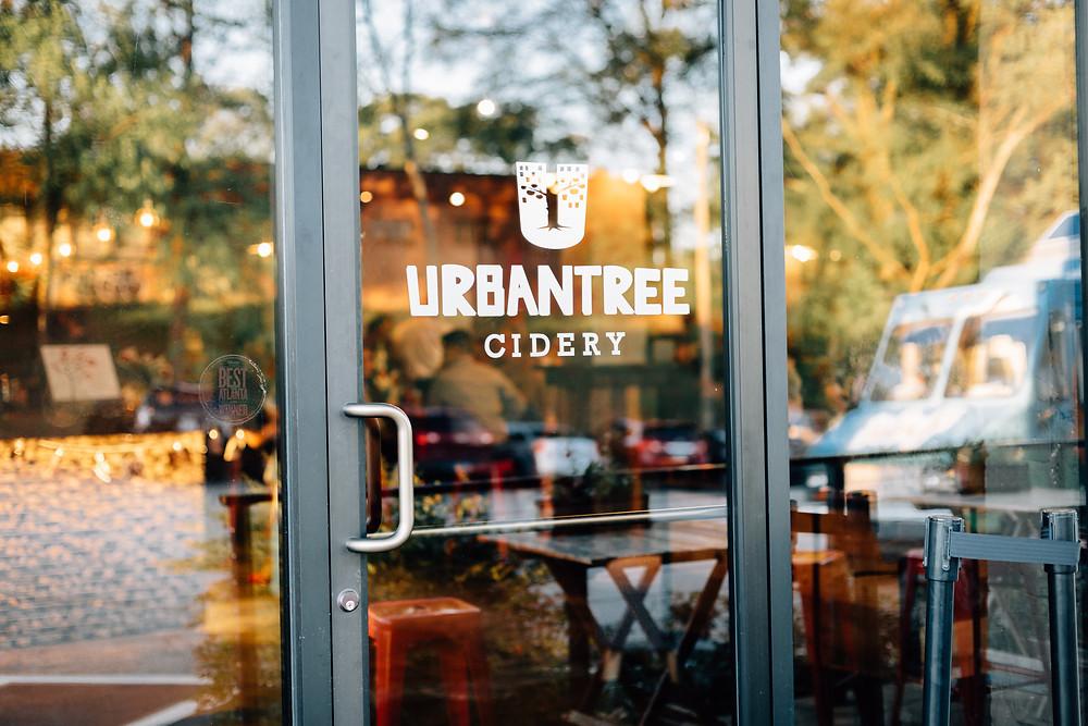 Urban Tree Cidery sign on door