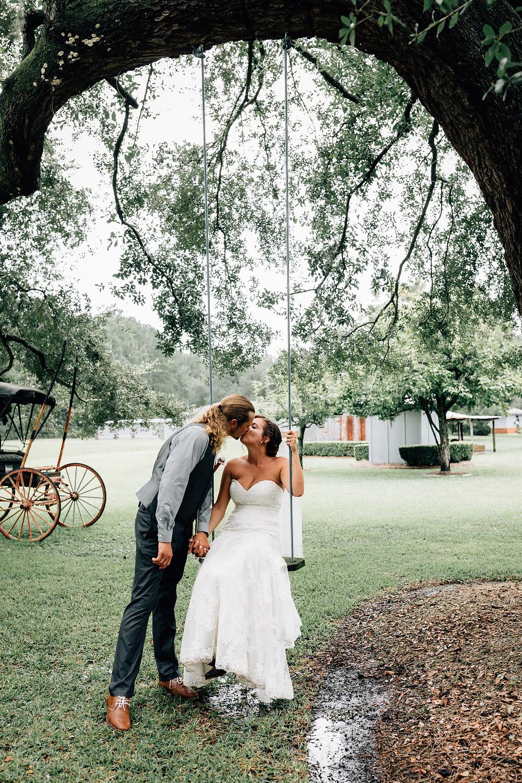 Bride and groom swing