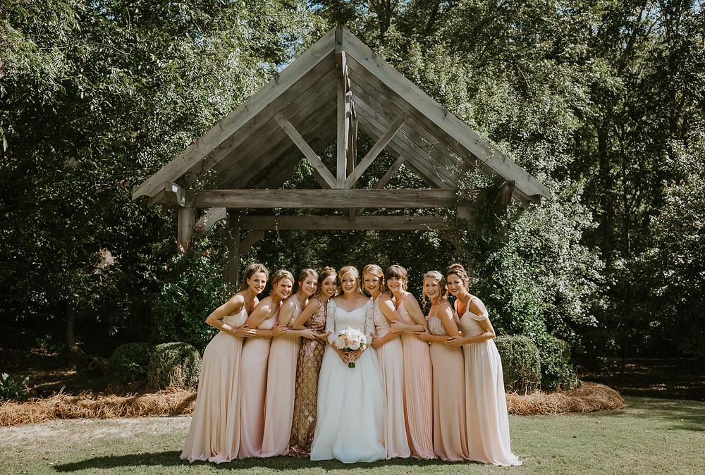 bridesmaids looking at camera