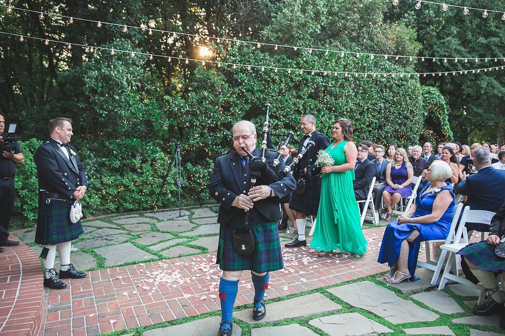 Scottish bagpipes wedding
