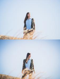 Sky background portrait